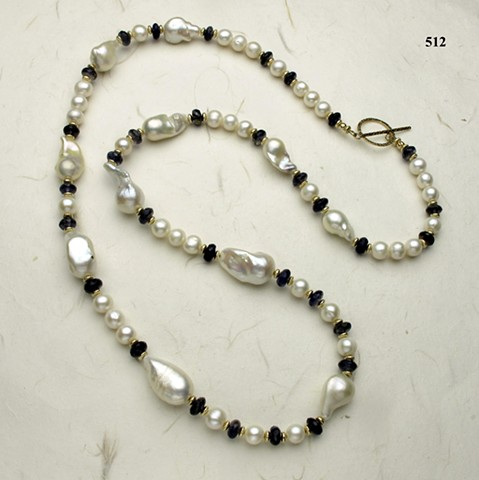 "34"" rope of pearls, baroque and 9mm, faceted iolite, gold filled beads and toggle (#512)"