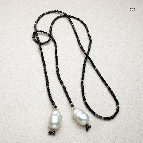 """Faceted black spinel (41"""") lariat, accented with gold filled beads and baroque pearl drops (#707)"""