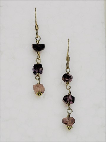 "purple hued rough cut wire wrapped sapphires on g/f non-slip ear wires, 1"" (#737E)"