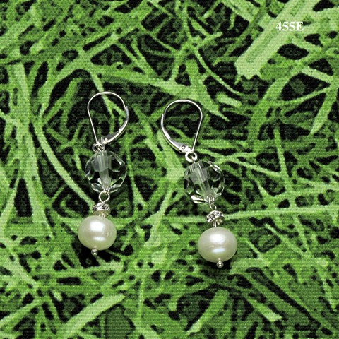 cut crystal, pearl, rhinestone rondelle on silver leverback earrings (#455E)