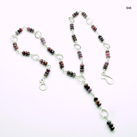 """Y"" necklace of hammered silver rings w/ wire wrapped faceted ruby rondelles, s/s hook & eye clasp, (22"" w/ 2"" drop) (#646)"