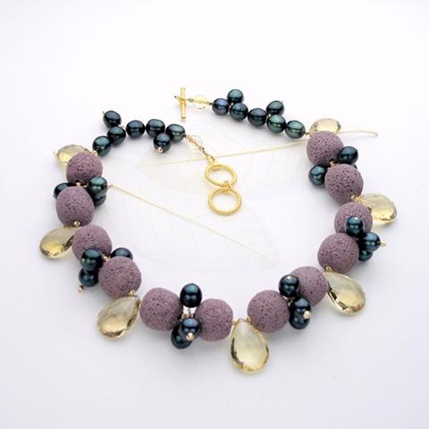citrine briolettes w/ lavender lava rock (#751)