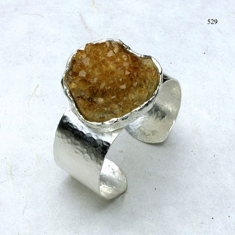 "spectacular natural crystalized citrine hammered silver cuff bracelet, (1""wide) (#529B)"