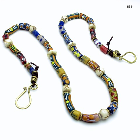 """antique millefiori glass beads from Ghana on a leather cord, accented w/ Nigerian brass beads & carved horn beads, finished with a brass clasp (32"""") (#651)"""