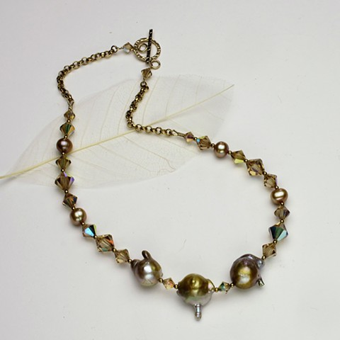 """champagne sparkler: 3 baroque pearls are the focal interest of this 17"""" sparkler of vintage swarovski crystal and pearls, finished with g/f  chain and a g/f hammered toggle clasp (#609)"""