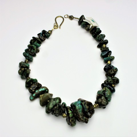 """graduated turquoise nuggets accented with antique African brass beads, finished with a brass clasp (please note this is a heavy piece, but fabulous stones!) 22"""" (#360)"""