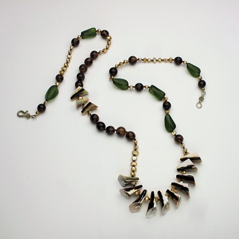 """a  fun 36"""" string of shells, buri beads, dyed freshwater pearls and vintage glass finished with a vermeil clasp (#871)"""