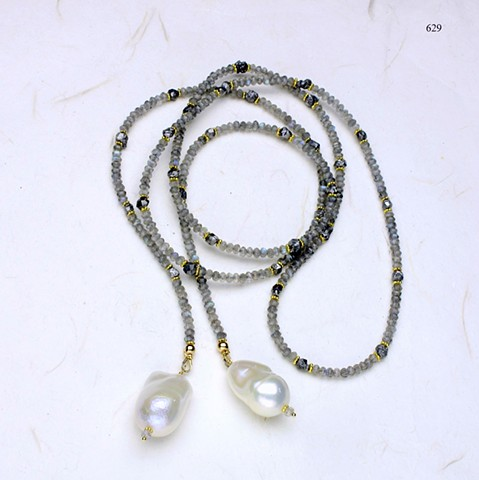 luminescent labradorite: faceted labradorite lariat accented with s/p quartz & vermeil beads, baroque pearl danglers