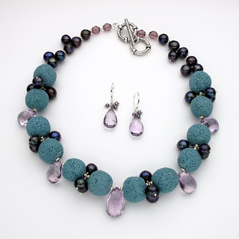 simply fabulous; teal lava rock w/ amethyst briolettes & peacock pearls, double toggle for length choice (#768) (sorry earrings have been sold)