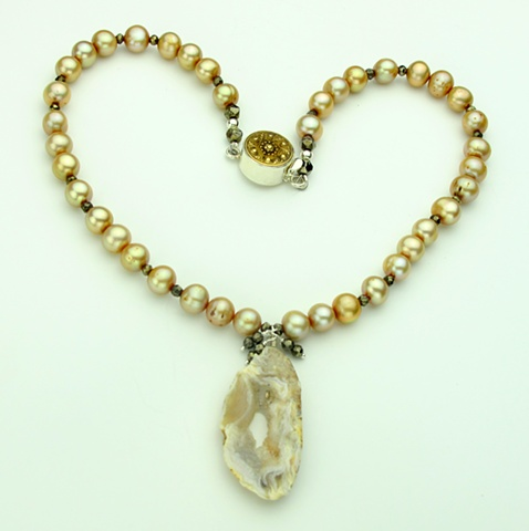 champagne pearls, crystalized agate slice, faceted pyrite, vintage brass button silver clasp (#767)