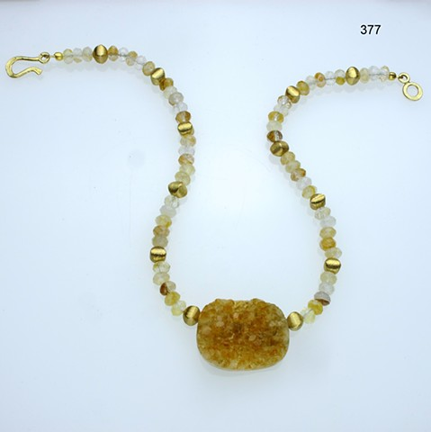 natural crystallized citrine focal stone with faceted rutilated quartz roundels and vermeil beads & toggle  (#377)