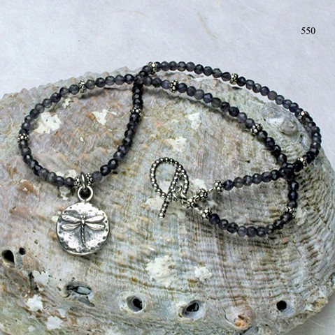 delicate iolite choker w/ Bali silver accents and a silver dragonfly charm, finished with a silver toggle (#550)