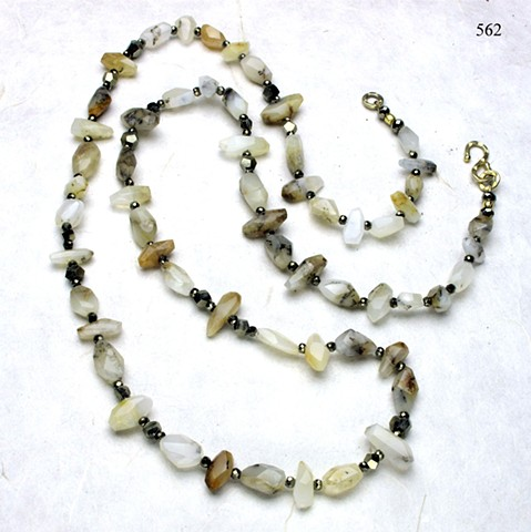 "unusually cut and exceptional beautiful 36"" rope of Brazilian opalite, accented with faceted pyrite, finished with a vermeil clasp (#562)"
