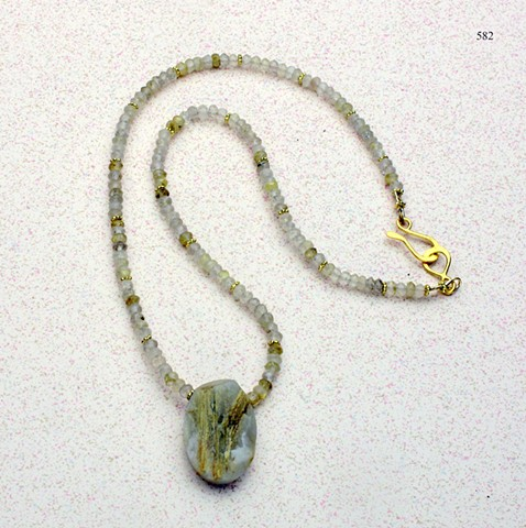 "rutilated quartz focal pendant w/ faceted rutilated quartz, vermeil Bali beads and finished with a vermeil hook and eye clasp (16"") (#582)"