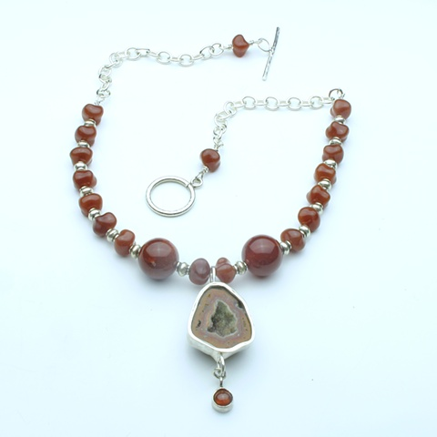 "fire and ice:  bezel set geode pendant w/ hessonite garnet drop, vintage glass beads, silver beads, chain & toggle clasp (16"" necklace, pendant hangs 2"") (#811)"