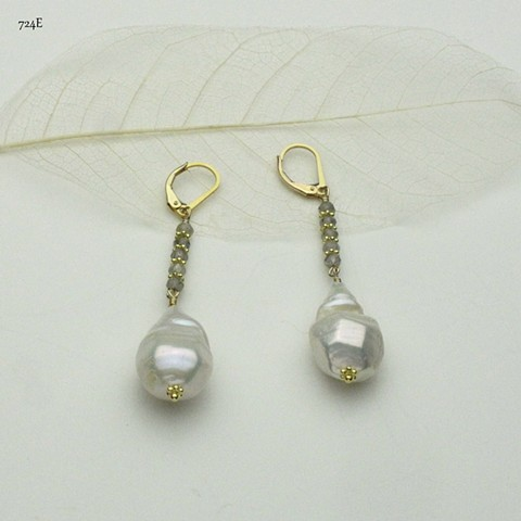 a baroque pearl hangs from faceted laborodite w/ vermeil Bali spacers on gold filled leverbacks (#724E)