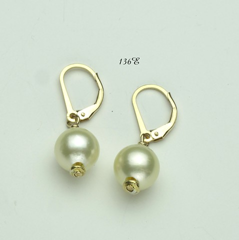 South sea pearls, gold filled leverbacks (136e)