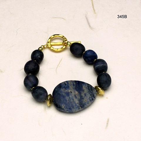 dumortierite bracelet w/ vermeil findings (#345B)