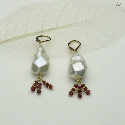baroque pearl with three faceted ruby & vermeil spacer danglers on gold filled leverbacks (#725E) coordinate these earrings with ruby necklace w/ pearl (#515)