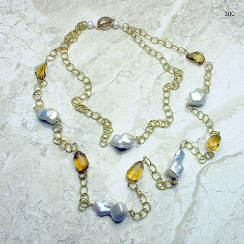 double strand vermeil link chain with citrine and baroque pearls (#300)
