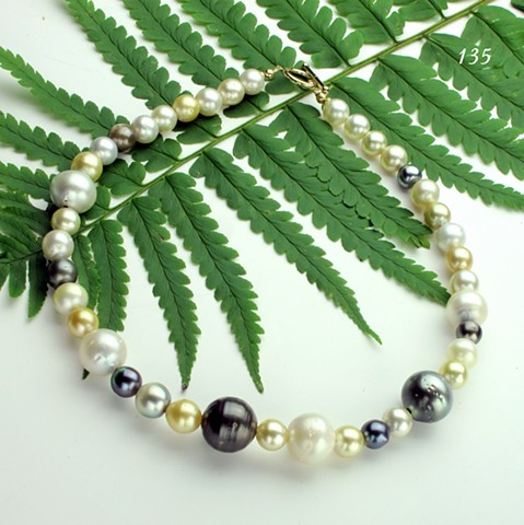 simply fabulous, South Sea & Tahitian pearls, multi-colored, multi-sized, 14kt gold toggle (135)