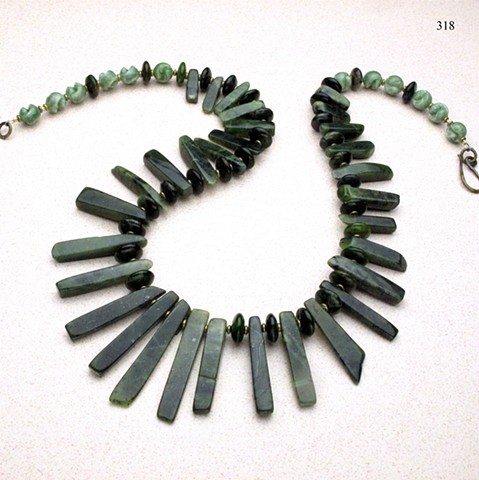 "statement 27"" necklace of green jade accented with green opal rondelles, vintage lucite and brass findings (#318)"