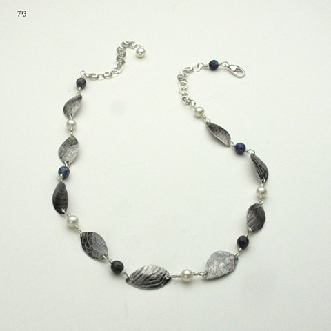 "oxidized textured silver leaves w/ pearls & sunset dumortierite w/ sterling silver link chain & lobster clasp (18"") (#713)"