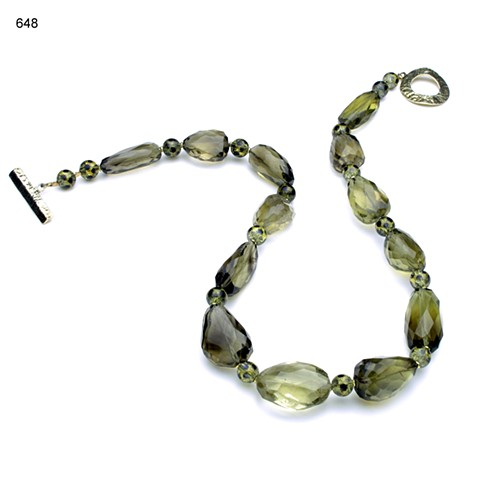 exquisitely cut, graduated large faceted smoky quartz, accented with vintage green apple lucite & vermeil beads, finished with a vermeil clasp (#648)