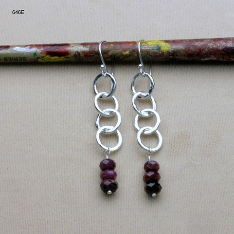 s/s hammered rings w/ faceted ruby rondelles on s/s ear wire (#646E)