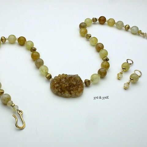 "natural crystallized citrine focal stone with faceted rutilated quartz accented with faceted citrine &  vermeil beads and clasp (22"") (#376) coordinating earrings (#376e)"