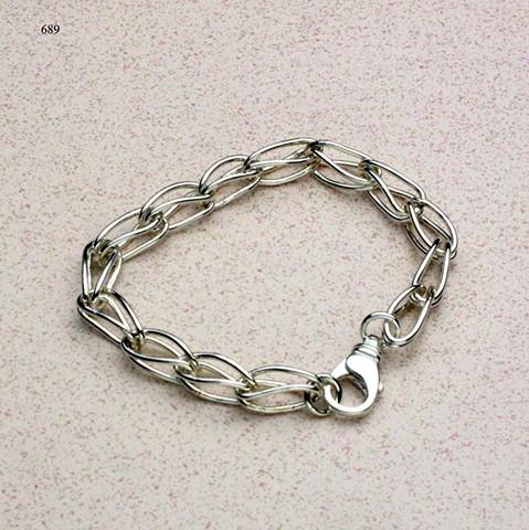 """linked up: handmade sterling link 7 1/2 """" bracelet with sterling lobster clasp (#689)"""