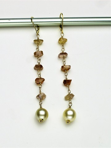 "rough cut peach hued wire wrapped sapphires w/ South Sea pearls on G/F leverbacks  (hang 3"" ) (#736E)"
