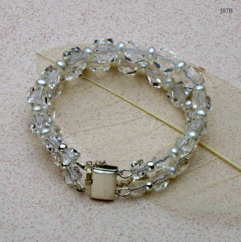 double strand vintage cut crystal with pearls; vintage sterling box clasp with safety (#587B)