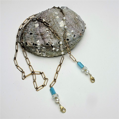 """vintage brass chain w/ wire wrapped turquoise & clear art glass beads & pearls, lobster clasps to attach to mask, 36"""" (#764)"""