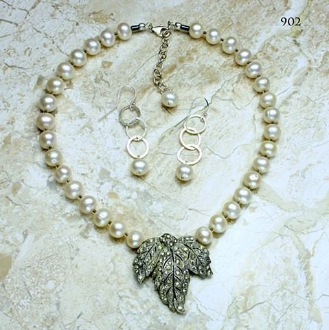 vintage rhinestone leaf dress clip w/ pearls silver  chain and lobster clasp (#902) coordinating earrings (902E)