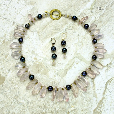 unusually cut Madagascan rose quartz prisms, peacock pearls, brass beads, bronze clasp (#104) coordinating earrings on g/f leverbacks (#104E)