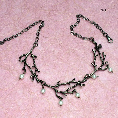 a natural beauty: 3 oxidized silver branches w? dangling pearls, finished with oxidized silver chain and lobster clasp that allows adjustable fit  (#203)
