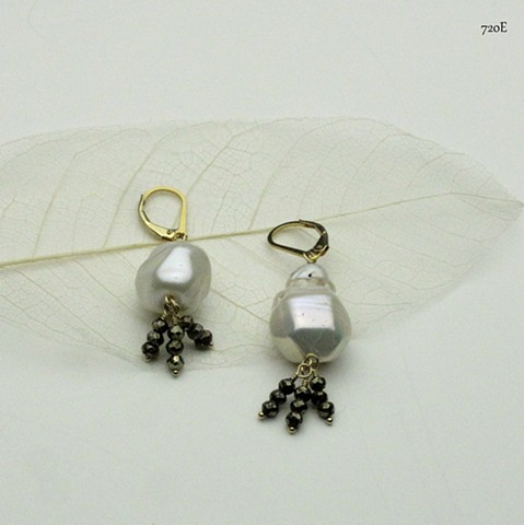 baroque pearl with 3 pyrite dangles on gold filled leverbacks (#720E)