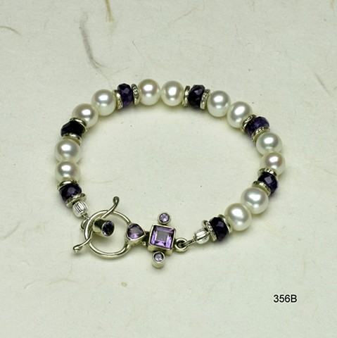 "pearl & amethyst bracelet accented with silver beads and finished with bezel set amethyst toggle, 61/2""  (#356B)"