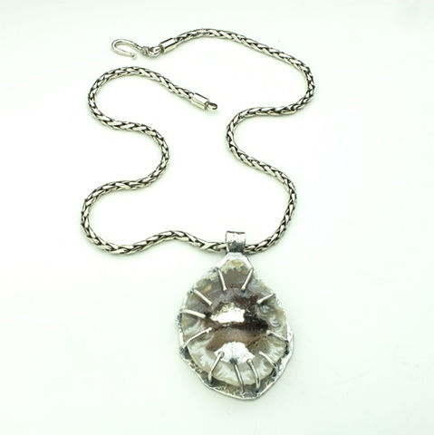 handcrafted silver pendant with crystalized agate slice on heavy silver chain (#825)