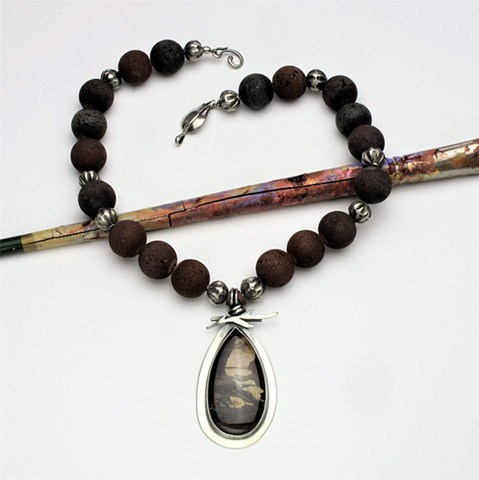 "western landscape: seschutes jasper silver pendant paired with lava rock and silver beads, finished with a silver leaf clasp, 19"". pendant hangs 2 1/2"" ( #959)"