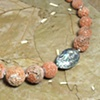 Italian coral with abalone, adjustable silver toggle