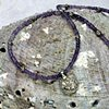 """delicate 15 1/2"""" choker of faceted amethysts with an antique Indian silver charm, finished with silver beads and toggle (#528)"""