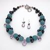 teal lava rock w/ amethyst briolettes & peacock pearls (768)