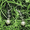 cut crystal, pearl, rhinestone rondelle on silver leverback earrings (#455E)