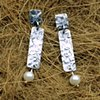 oxidized textured silver 2 piece post earrings with pearls (#640E)