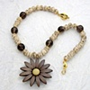 vintage celluloid flower button, carved bone, faceted smoky quartz, 24kt g/p beads