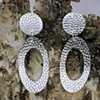 dimpled silver large hanging ovals on silver posts (#537E)
