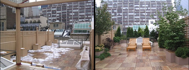 Before & After in a downtown Manhattan rooftop garden
