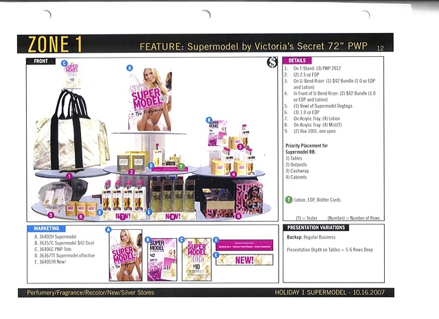 Victoria's Secret Beauty Brand Guide Page, Corporate Communications: Holiday Feature Table, Front View